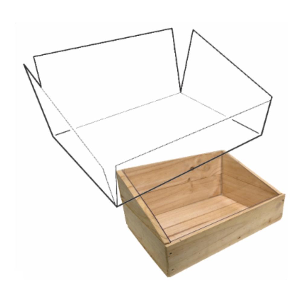 Wooden Crate Clear polypropylene liner slanted
