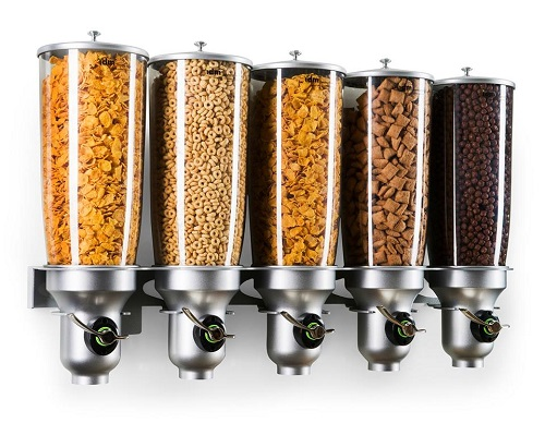 Dry Food Dispenser | DH50-FF | Free Flow | 5 Containers| Cereal | Candy | Natural Food |