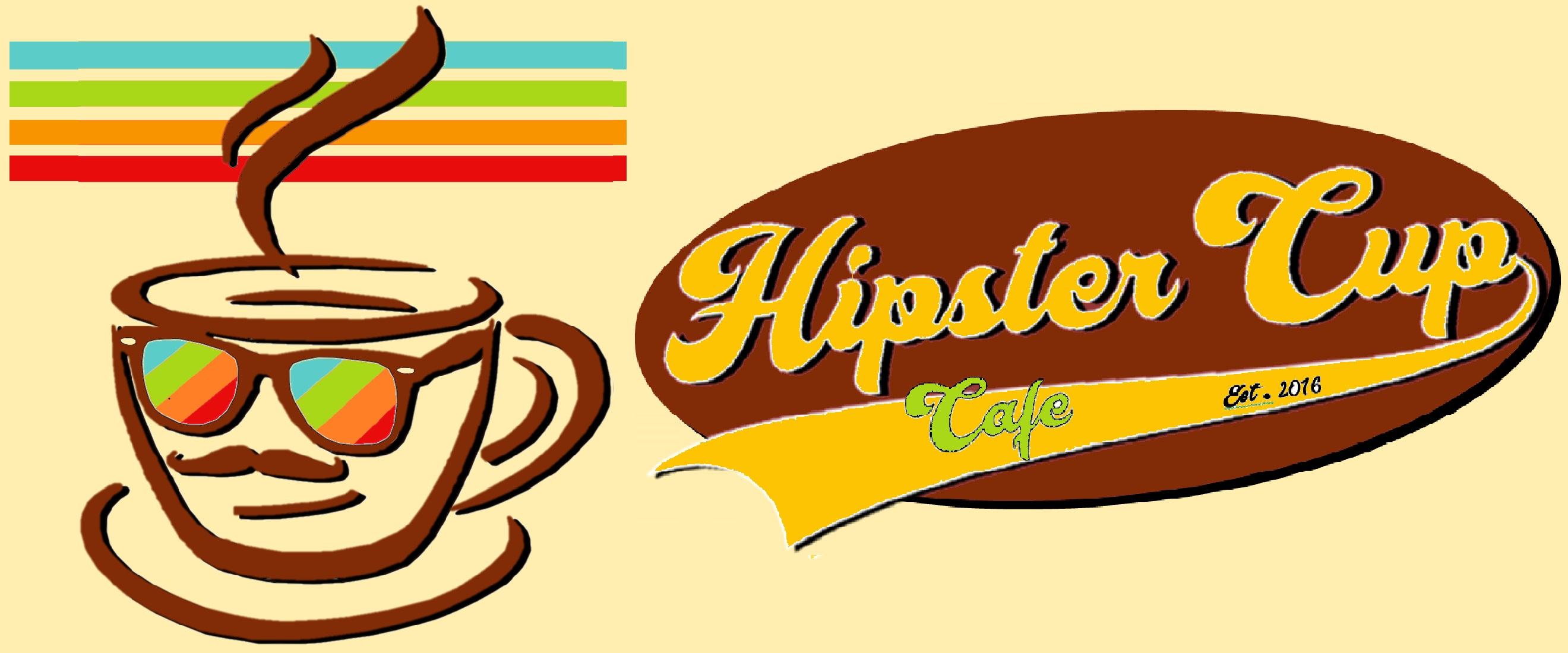 Hipster Cup Cafe Logo