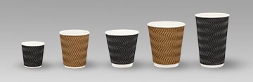 Coffee Cup triple Wall Uni Wave many sizes