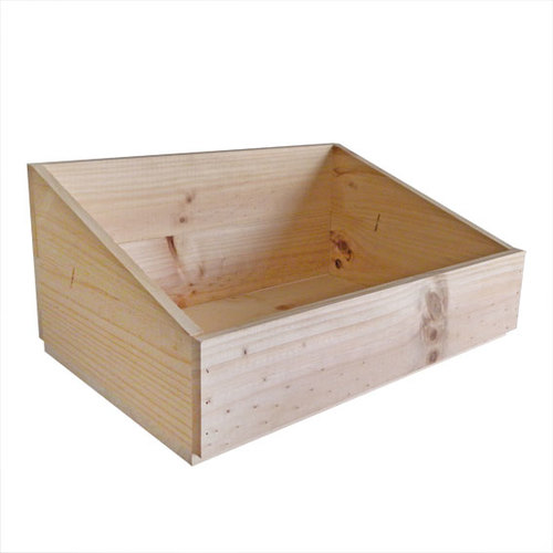 Wooden crate with slanted sides