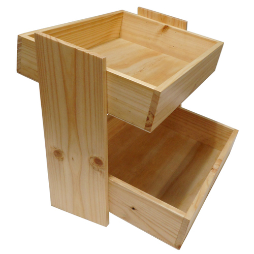 Wooden Crate Counter Top Display - 2 Tier